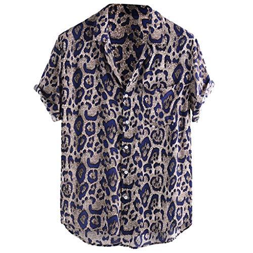 JJLIKER Men's Hipster Short Sleeve Shirts Leopard Print Button Down Casual Tees Shirts Beach Hawaiian Shirt with Pockets Blue