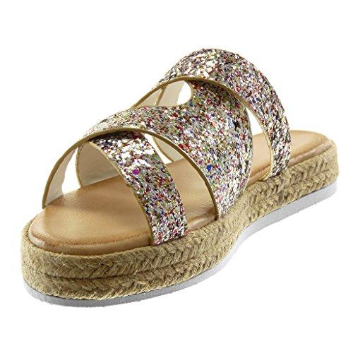 Tacco Paillette Incrociate Sandali cm Moda Donna Corda 2 Cinghie Scarpe Mules Piattaforma Angkorly On Zeppa Slip Zeppe Oro 5 T75qzvW5pn