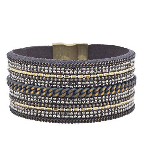 Magnetic Wrap Necklace Bracelet (Lux Accessories Blue Multi Chain Hematite Stone Goldtone Rust Magnetic Bracelet)