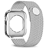 jwacct Compatible for Apple Watch Band with Screen Protector 38mm 40mm 42mm 44mm, Soft TPU Frame Case Cover Bumper Compatible for Apple Series 1/2/3/4 Sliver