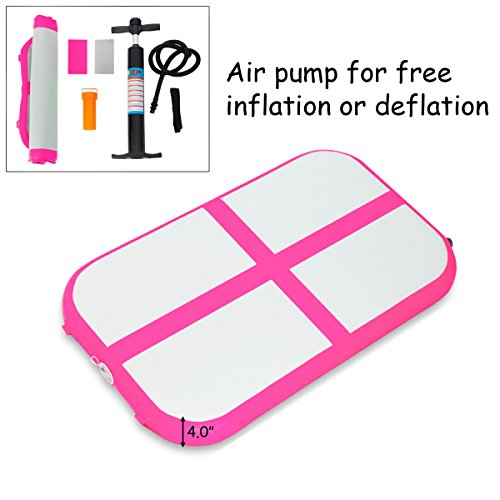 (GOPLUS Inflatable Gymnastic Mat Professional Air Track Tumbling Mat with Pump for Home, Beach, Park and Water Use (S-Pink, 3.3'x2'x4))