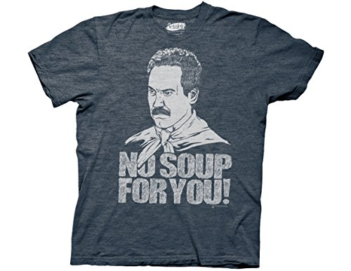 Ripple Junction Seinfeld No Soup for You Adult T-Shirt Small Navy Heather (Seinfeld Elaine)