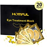 Eye Treatment Mask, HOMFUL 24K Gold Collagen Eye Treatment Mask, Collagen & Anti-Aging Hyaluronic Acid Under Eye Pads Eye Mask for Dark Circles, Eye Puffiness and Wrinkles [20 Pairs]