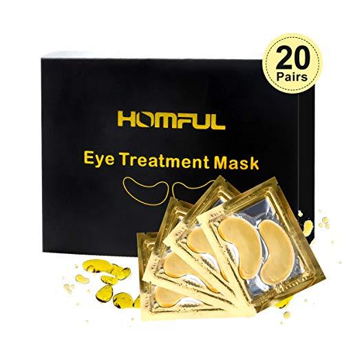 Eye Treatment Mask, HOMFUL 24K Gold Collagen Eye Treatment Mask, Collagen & Anti-Aging Hyaluronic Acid Under Eye Pads Eye Mask for Dark Circles, Eye Puffiness and Wrinkles [20 Pairs]