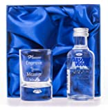 Engraved/Personalised NEW 2oz Shot Glass & Absolut Vodka Blue in Silk Gift Box For 18th/21st/30th Birthday/Best Man/Usher