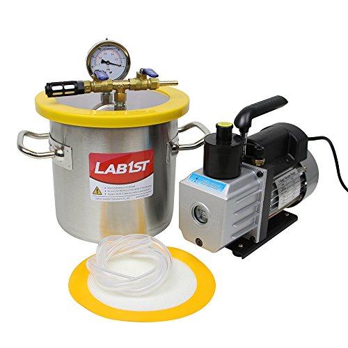 lab1st 1 1/2 Gallon Vacuum Degassing Chamber Kit with 3 CFM Vacuum Pump