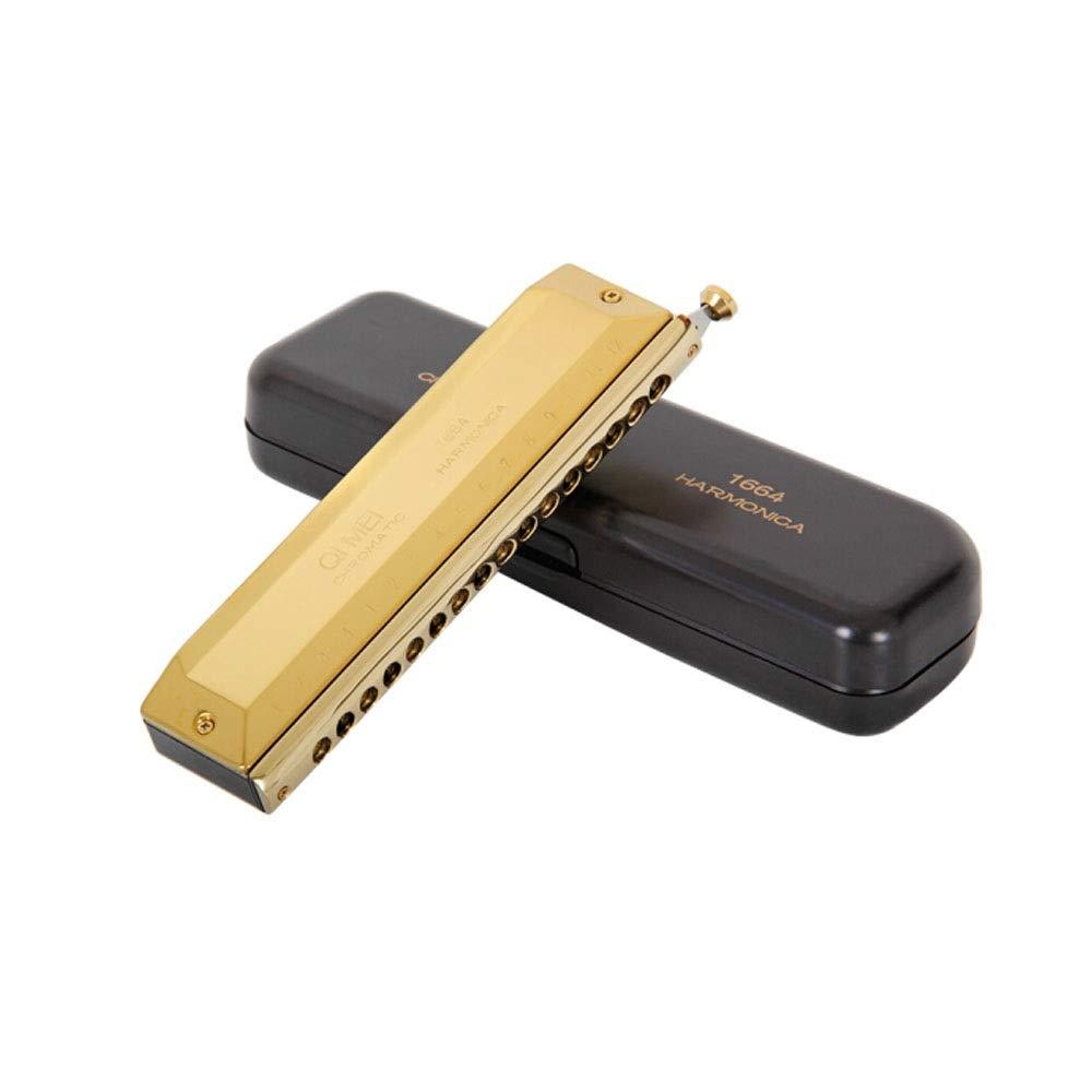 ハーモニカ、16穴クロマチックハーモニカ(ゴールド/シルバー/ブラック)、高品質 (Color : Black) B07R13LKKC Gold  Gold
