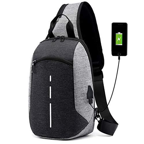 (Versatile Oxford Cloth Sling Bag/Urban Travel Backpack, Wear Over Shoulder or Crossbody Bag for Men & Women - Grey)