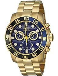 Invicta Mens 21555 Pro Diver 18k Gold Ion-Plated Stainless Steel Watch with Link Bracelet