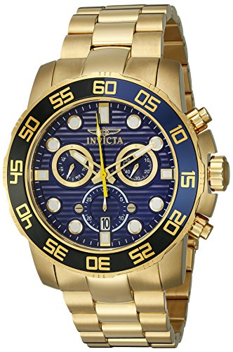 Invicta Men's 21555 Pro Diver 18k Gold Ion-Plated Stainless Steel Watch with Link Bracelet (18k Swiss Gold)