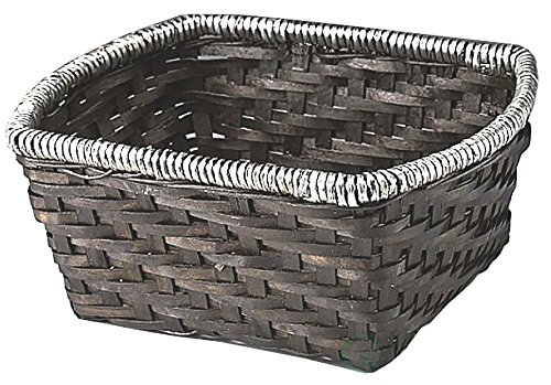 Rectangle Handwoven Woodchip Baskets Container With Metal Rim (Wire Gift Basket)