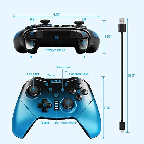 Switch Controller for Nintendo Switch, SHANGCAI Wireless Pro Controllers Remote Gamepad Joystick for Switch Console Supports Motion Control Gyro Axis Turbo and Dual Vibration Gradient Color