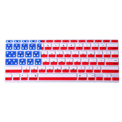 HDE Protective Silicone Keyboard Cover Skin for Macbook Air 11.6 (Model 1370 and A1465), American Flag