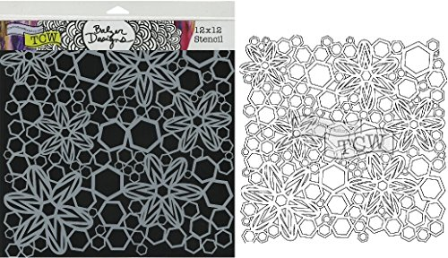 """The Crafter's Workshop Set of 2 Stencils Hex Flowers 12"""" ..."""