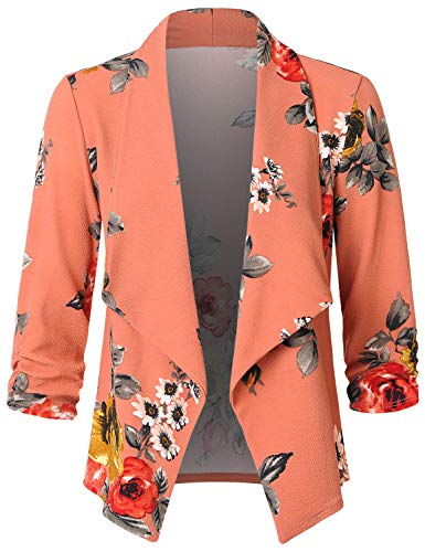 JSCEND Women's Casual Stretch 3/4 Sleeve Open Front Blazer Cardigan Jacket B-Coral S -