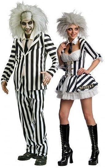 Hombre Y Mujer Parejas Disfraz Mr Miss Beetlejuice Halloween ...