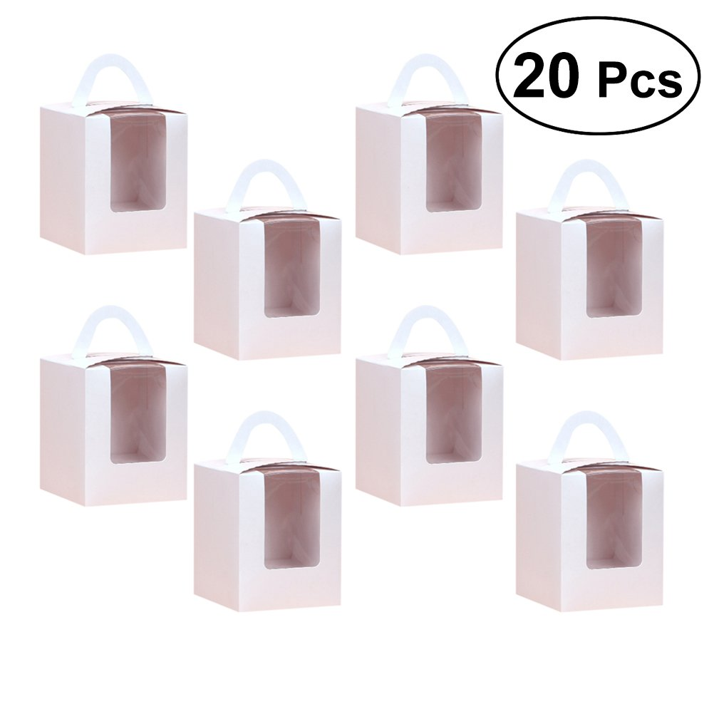 BESTONZON 20Pcs Single Cupcake Boxes with Window Insert and Handle for Wedding Party Favor Decoration (White)