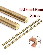 2 varillas redondas de latón macizo de 1/4 pulgadas de diámetro, 150 mm de largo, 5 mm de largo.