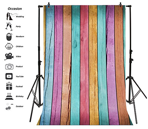 Leyiyi 6x8ft Photography Backdrop Grunge Graffiti Wooden Board Background Happy Birthday Party Vintage Rainbow Colored Wallpaper Baby Shower Rock Banquet Pets Photo Portrait Vinyl Video Studio Prop