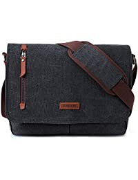 14 Inch Laptop Messenger Bag for Men and Women,Canvas Leather Shoulder Bag for Work School VONXURY