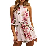 TOOPOOT Summer Two-Piece Outfit,Womens Tassels Playsuit Jumpsuit Floral Beach Top Shorts Set (L, Pink)