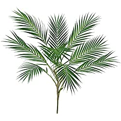 """Supla 1 Pcs Artificial Tropical Palm Leaf Bush in Green Plastic Areca Palm Plant 9 Leaves per Bush 33.4"""" Tall Tropical Greenery Accent"""