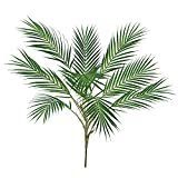 Supla 1 Pcs Artificial Tropical Palm Leaf Bush in Green Plastic Areca Palm Plant 9 Leaves per Bush 33.4'' Tall for Tropical Greenery Accent