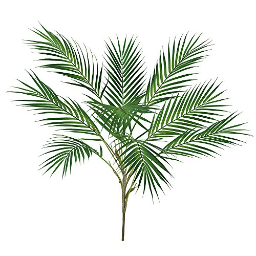 Supla 1 Pcs Artificial Tropical Palm Leaf Bush in Green Plastic Areca Palm Plant 9 Leaves per Bush 33.4