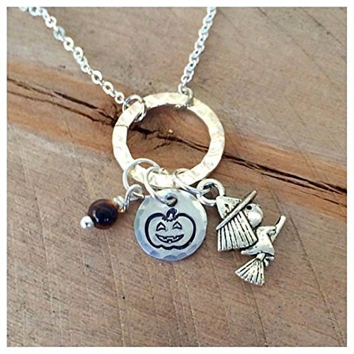 Hand Stamped, tigers eye, Halloween Themed, samhain, Necklace