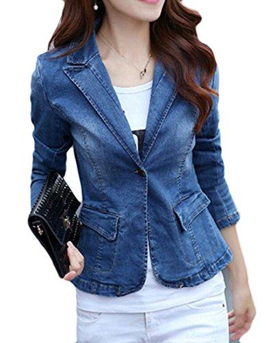 GRMO Women's Winter Lapel Washed One Button Suit Blazer Coat Denim Jacket Aspic US (Denim Womens Blazer)