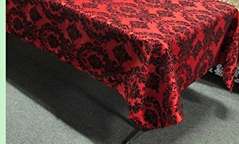 lovemyfabric Flocking Damask On Taffeta Tablecloth/Overlay For Wedding, Bridal Shower/Baby Shower, Dinner and Special Events (56