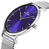 ویکالا · خرید  اصل اورجینال · خرید از آمازون · Tonnier Sllver Slim Stainless Steel Mesh Strap Mens Watch Quartz Watch for Men Blue Watch Face wekala · ویکالا