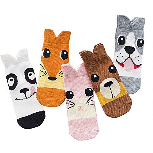 SLAIXIU Cute Animal Design Boys Girls Cotton Socks for Kids 5-Pack (C389-M) (Kids Design Sock)