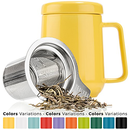 Tealyra - Peak Ceramic Yellow Tea Cup Infuser - 19-ounce - Large Mug with Lid and Stainless Steel Infuser - Tea-For-One Perfect Set for Office and Home Uses - 580 milliliter - Ceramic One