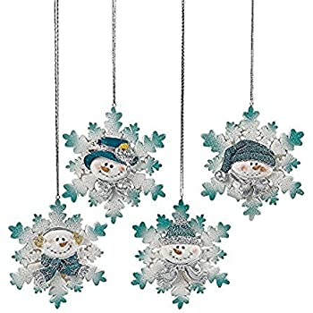 Amazon.com: Resin Blue Snowman Christmas Ornaments (Pack of 12 ...