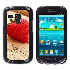 LECELL -- Funda protectora / Cubierta / Piel For Samsung Galaxy S3 MINI NOT REGULAR! I8190 I8190N -- Fruit Macro Wood Strawberry --