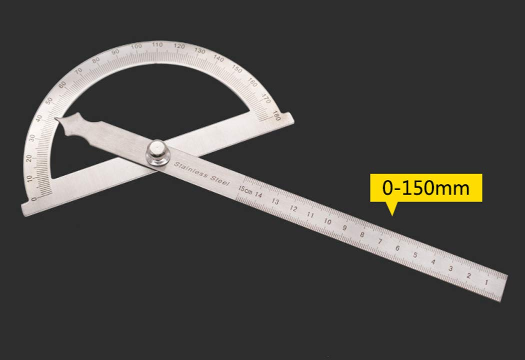 Fansport Protractor Ruler Stainless Steel 180 Degree Angle Finder with Measuring Ruler for Construction