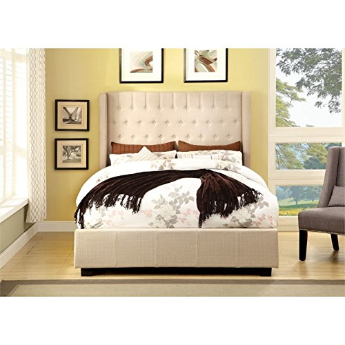 (Furniture of America Bellavie Wingback Platform Bed with Button-Tufting, Eastern King, Ivory)