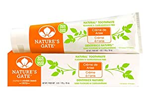 Nature's Gate Natural Toothpaste, Creme de Anise, Fluoride Free; Vegan, Non GMO, Carageenan Free, Gluten Free, Soy Free, Paraben Free, Sulfate Free, Cruelty Free, 6 Ounce Recyclable Tubes (Pack of 6)