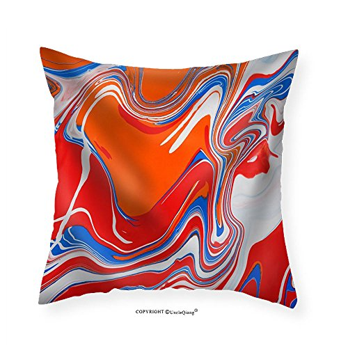 VROSELV Custom Cotton Linen Pillowcase Liquid Marbling Paint Background. Fluid Painting Texture Blue and Red. - Fabric Home Decor 22
