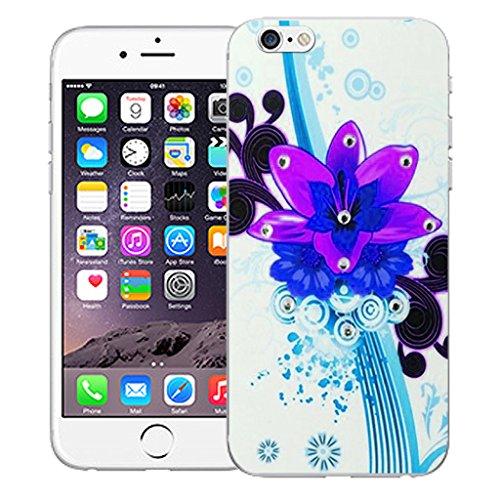 "Mobile Case Mate iPhone 6 Plus 5.5"" Silicone Coque couverture case cover Pare-chocs + STYLET - Purple Bouquet pattern (SILICON)"