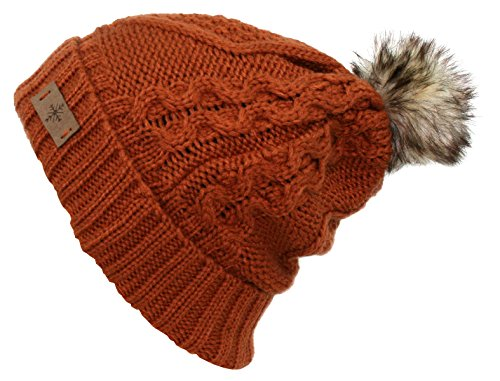 - ANGELA & WILLIAM Women's Faux Fur Pompom Fleece Lined Knitted Slouchy Beanie Hat - Rust