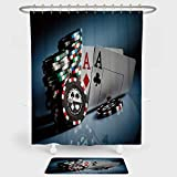 iPrint Poker Tournament Decorations Shower Curtain Floor Mat Combination Set Gambling Chips Pair Cards Aces Casino Wager Games Hazard decoration daily use Multicolor