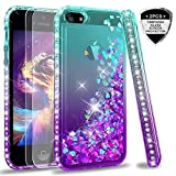 LeYi Case for iPhone 5S SE 5 with Tempered Glass Screen Protector [2 pack], Girl Women 3D Glitter Liquid Cute Personalise Clear Silicone Gel Shockproof Phone Cover for Apple iPhone 5 Turquoise Purple