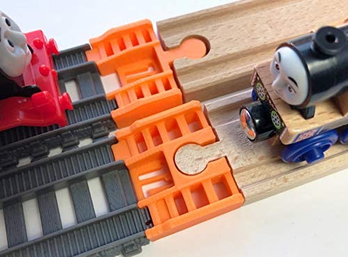 TrainLab Track Adapters CompatibleTrackmaster (2014+) to Wooden Railway Train Tracks (2pc) (Orange)