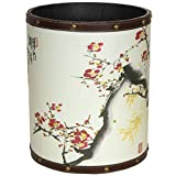 ORIENTAL FURNITURE CAN-WST-LOVE-A Cherry Blossom Waste Basket