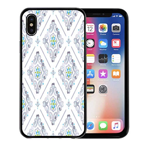 Semtomn Phone Case for Apple iPhone Xs case,Watercolor Filigree Renaissance Delicate Pastel Openwork Lace Pattern Gray Blue and Green Moroccan for iPhone X Case,Rubber Border Protective Case,Black