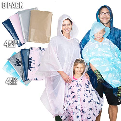 Disposable Rain Poncho Family Pack of 8. Emergency Rain Ponchos- Rain Gear for Hiking, Travel & Parks- Rain Capes Ponchos with 4 Hooded Ponchos for Adults, 4 Kids Ponchos with Fun Designs -