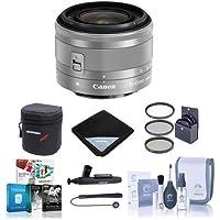Canon EF-M 15-45mm f/3.5-6.3 IS STM Lens, Silver - BUNDLE with 49mm Filter Kit, Soft Lens Case, Cleaning Kit, Lens Wrap (15x15), LensPen Lens Cleaner, Lens Cap Leash, Software Package