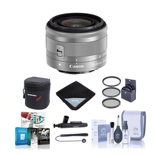 Canon EF - 15 – 45 mm f / 3.5 – 6.3 is STMレンズ、シルバー – Bundle with 49 mmフィルタキット、ソフトレンズケースレンズラップ(15 x 15 )、Lenspenレンズクリーナー、レンズキャップ、クリーニングキット、リーシュ、ソフトウェアパッケージ   B01M5GYTMA